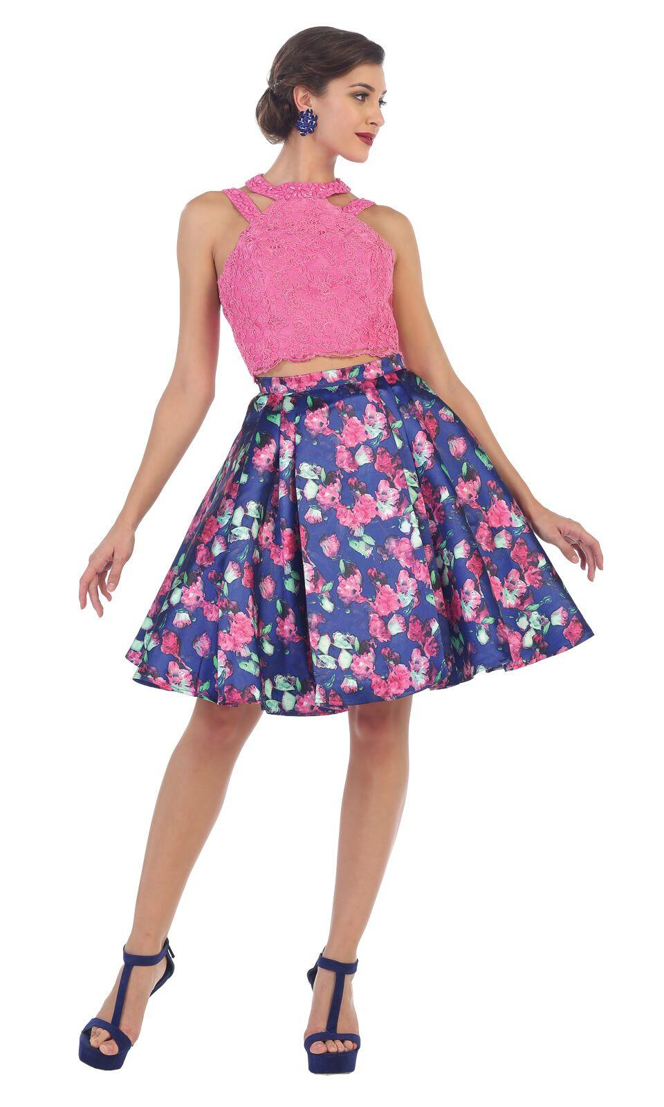 Short Two Piece Set Floral Print Prom Dress - The Dress Outlet Hot Pink/Multi