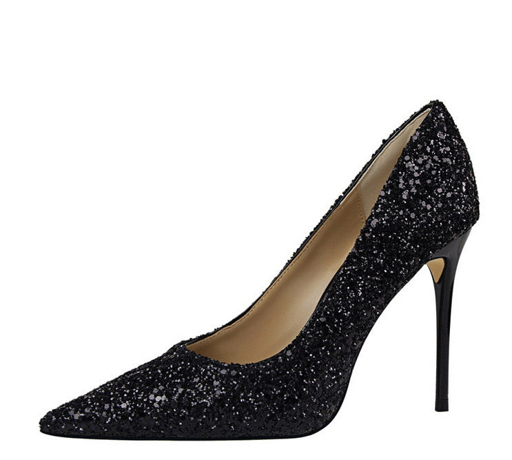 Wedding High Heels Poited Toe Bridal Shoes - The Dress Outlet Black