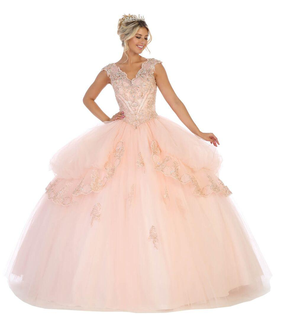 Sweet 16 Long Cap Sleeve Quinceanera Dress - The Dress Outlet Blush