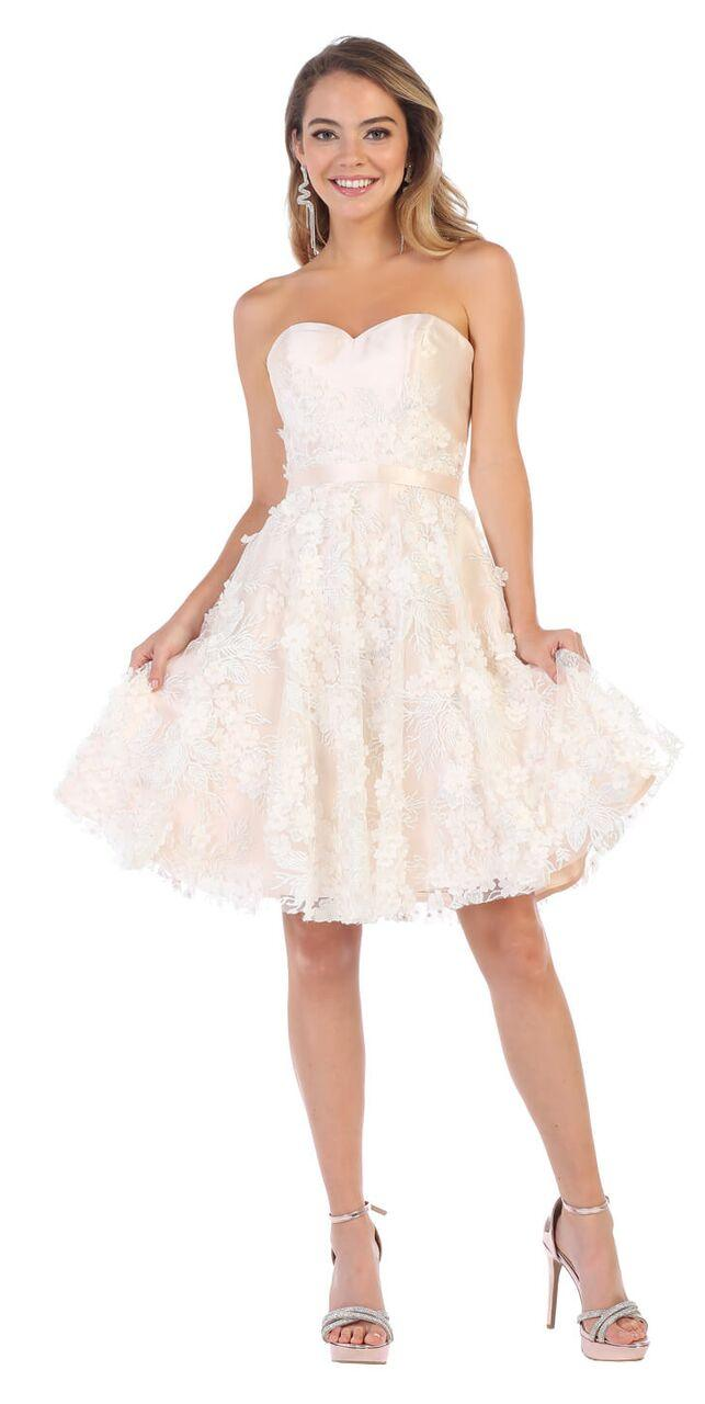 Short Prom Strapless Graduation Cocktail Dress - The Dress Outlet Blush/Ivory