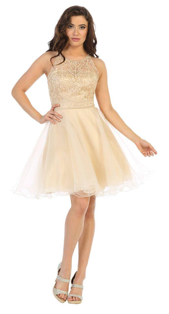 Short Tulle Halter Plus Size Prom Cocktail Party Dress - The Dress Outlet Champagne