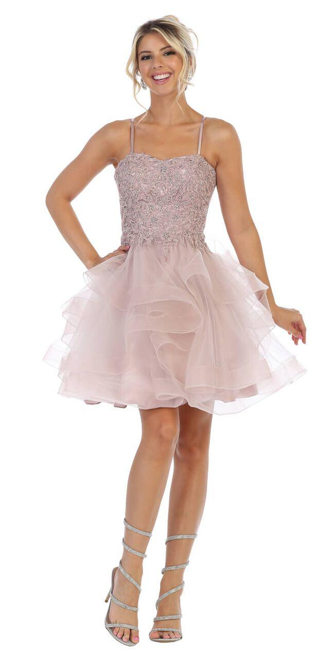 Short Prom Graduation Strap Dress with Ruffled Skirt - The Dress Outlet Mauve