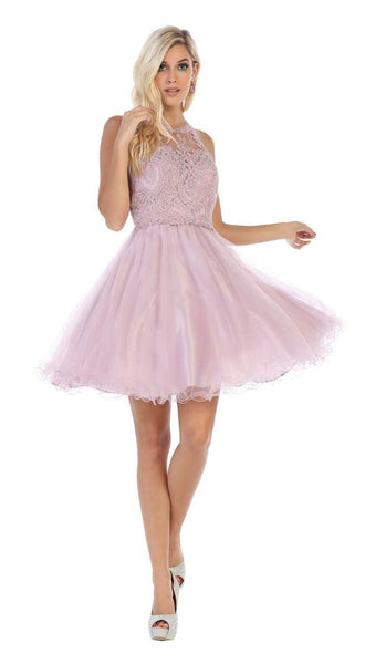 Short Prom Halter Neck Homecoming Dress - The Dress Outlet Mauve May Queen
