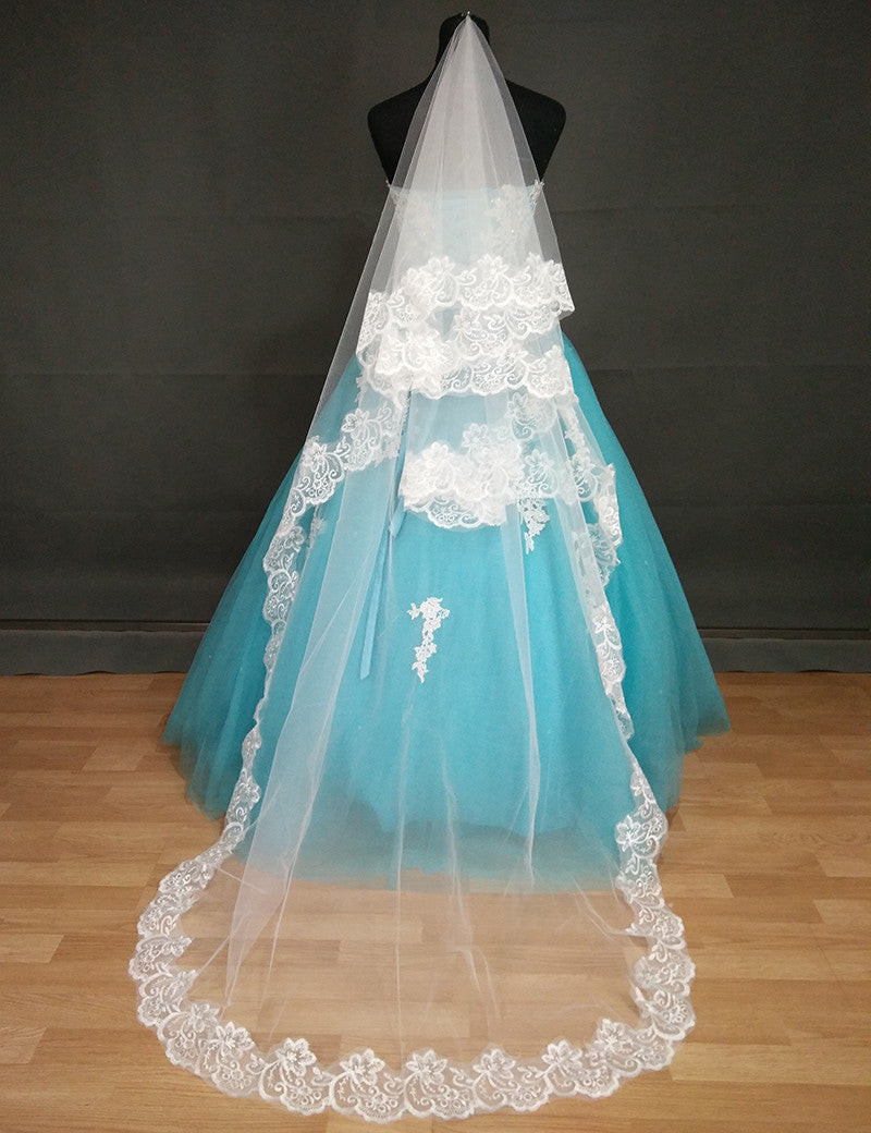 Lace Edge One Layer Long Bridal Veil with Comb | DressOutlet - The ...