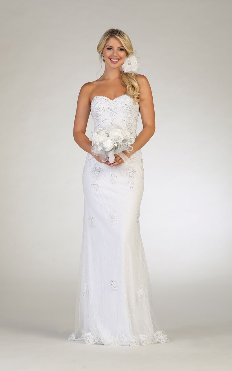 White Wedding Dress Formal Gown - The Dress Outlet White May Queen