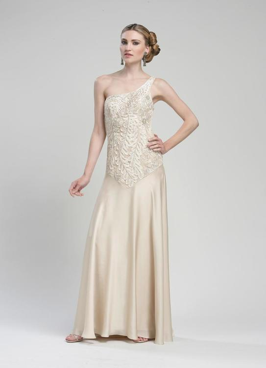 Sue Wong Long Formal One Shoulder Dress - The Dress Outlet Antique Champagne