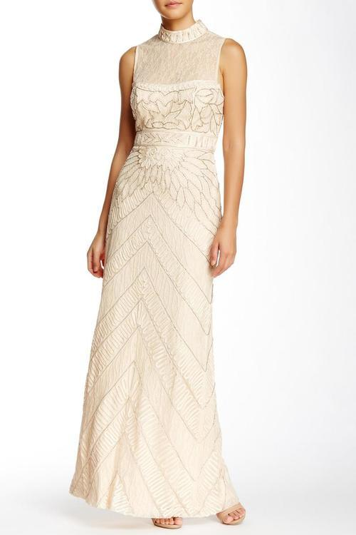 Sue Wong Formal Dress Long Evening Gown - The Dress Outlet Champagne