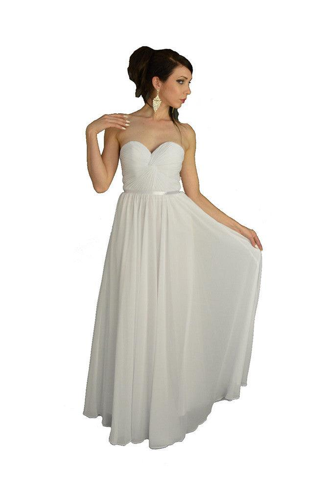 Simple Wedding Plus Size Long Gown - The Dress Outlet White May Queen