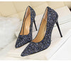 Wedding High Heels Poited Toe Bridal Shoes - The Dress Outlet Blue