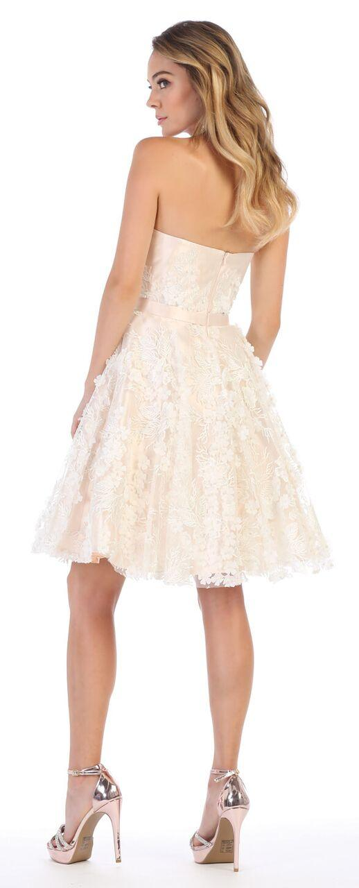 Short Prom Strapless Graduation Cocktail Dress - The Dress Outlet