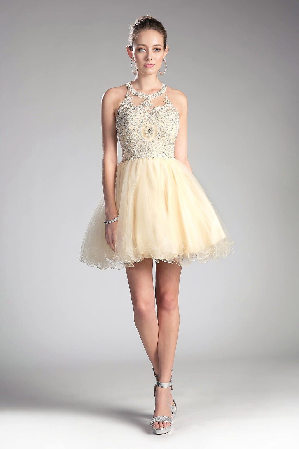 Short Prom Halter Neck Homecoming Dress - The Dress Outlet Champagne May Queen