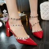 Wedding Buckle Rivets Bridal Shoes Pointed Toe - The Dress Outlet Red DG