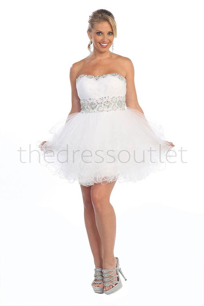 Short Prom Dress Plus Size Homecoming - The Dress Outlet White