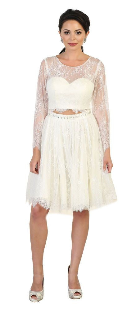 Wedding Short Dress - The Dress Outlet Ivory/Multi
