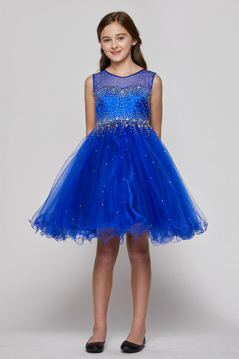 Sleeveless Illusion Neckline Sparkle Flower Girl Dress