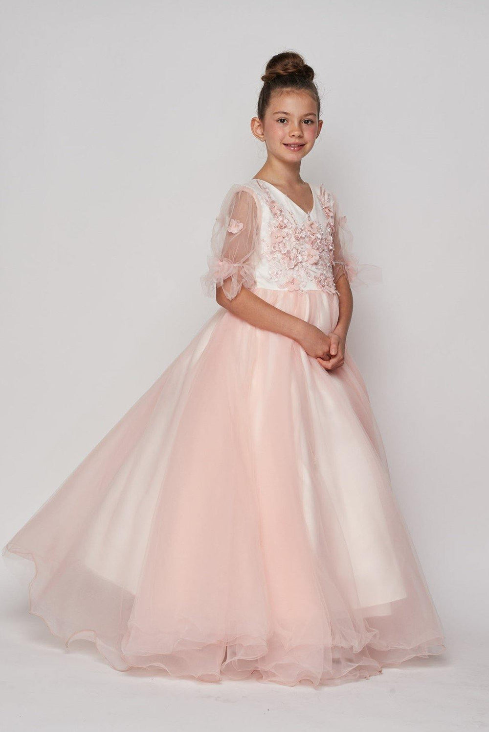 Short Sleeved Beaded Organza Gown Flower Girl - The Dress Outlet