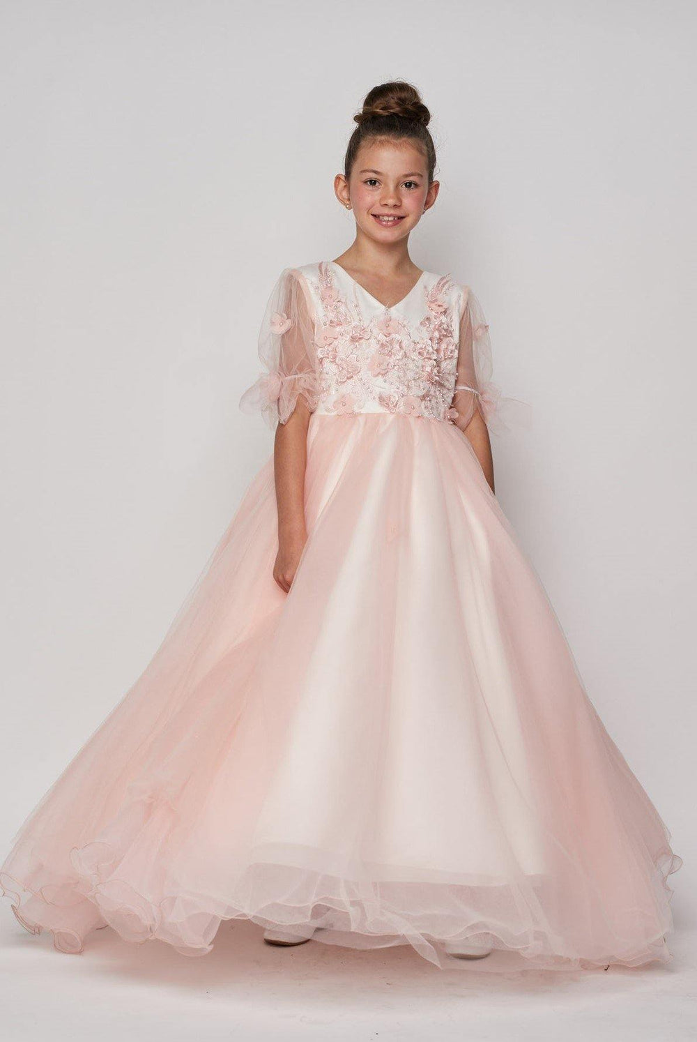 Short Sleeved Beaded Organza Gown Flower Girl - The Dress Outlet Pink