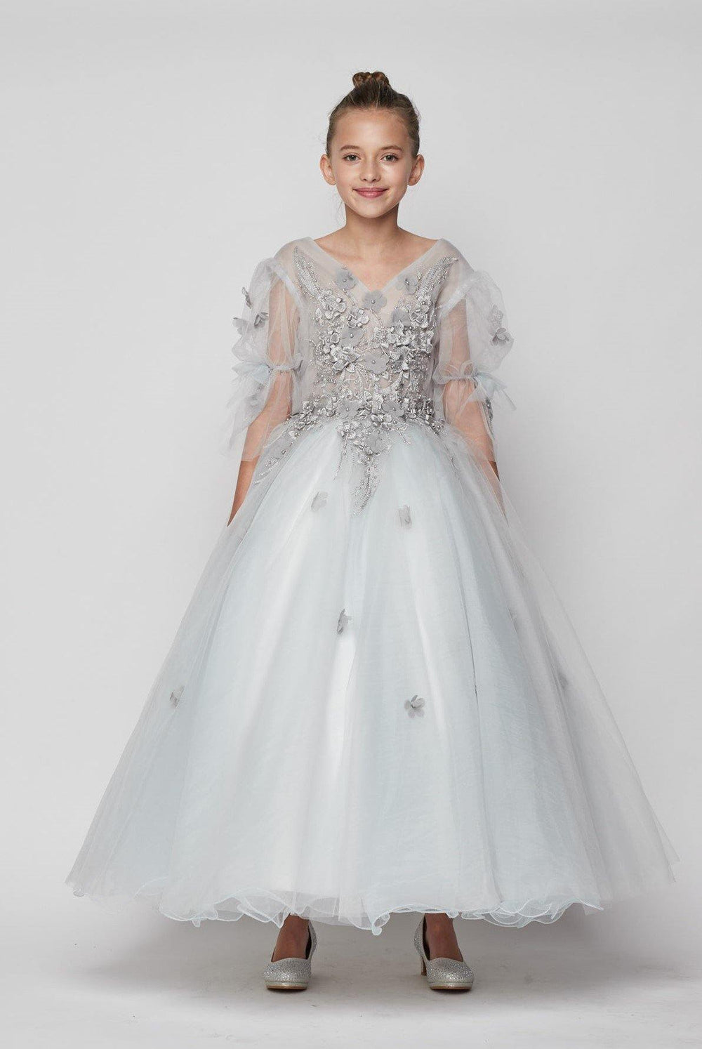 Short Sleeved Beaded Organza Gown Flower Girl - The Dress Outlet Silver