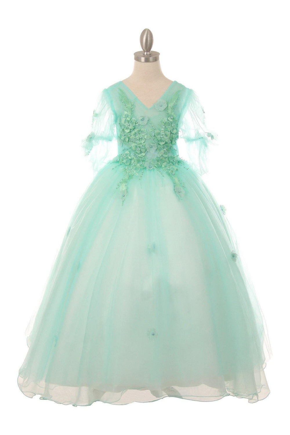 Short Sleeved Beaded Organza Gown Flower Girl - The Dress Outlet Blue
