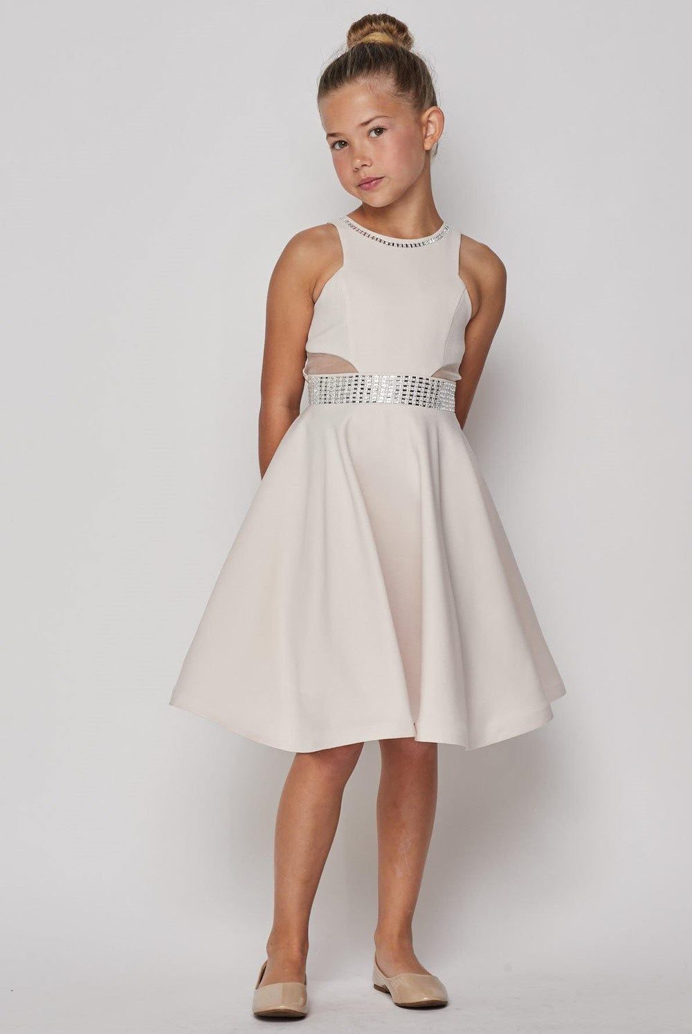 Short Sparkle Flower Girl Dress - The Dress Outlet Cream
