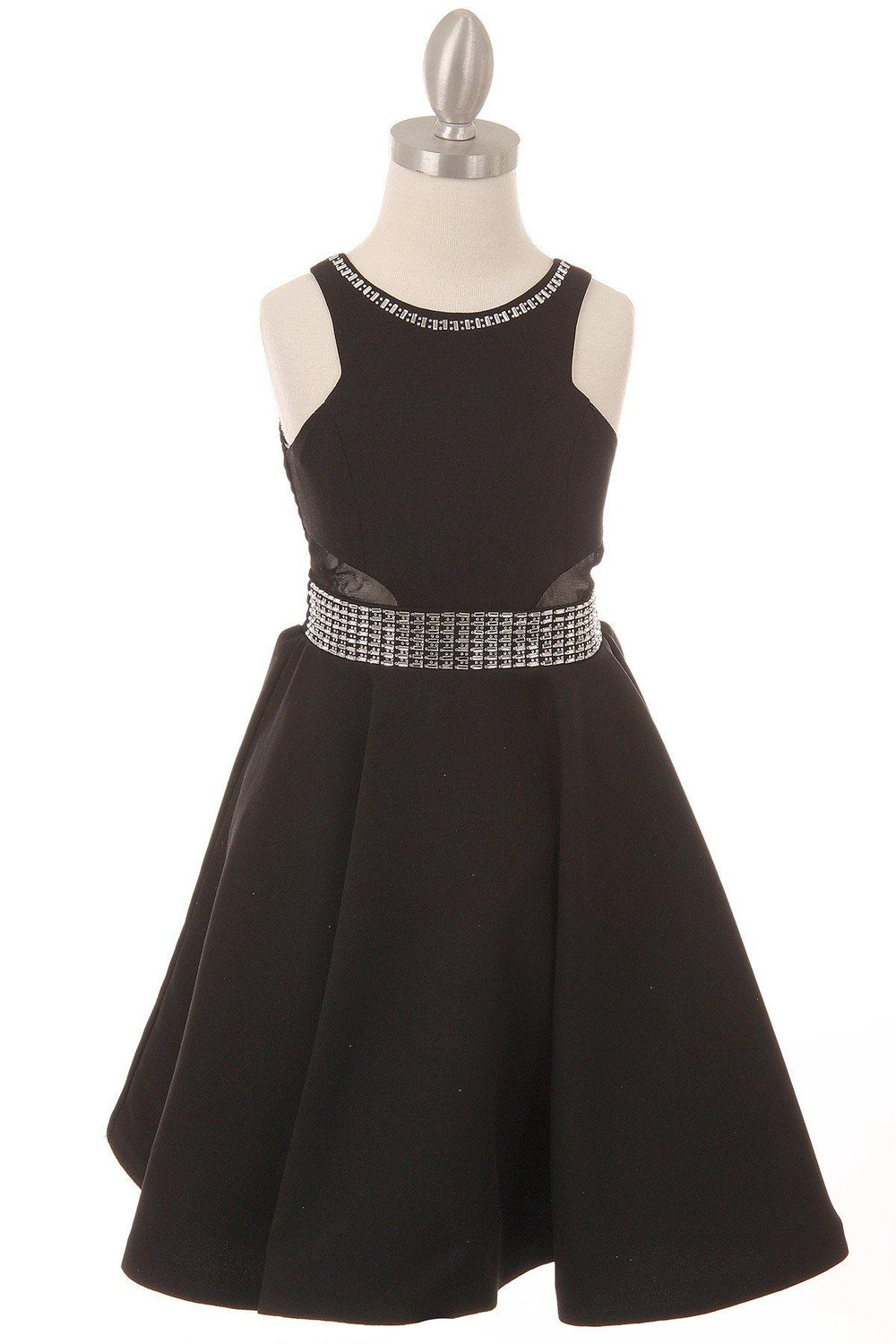 Short Sparkle Flower Girl Dress - The Dress Outlet Black