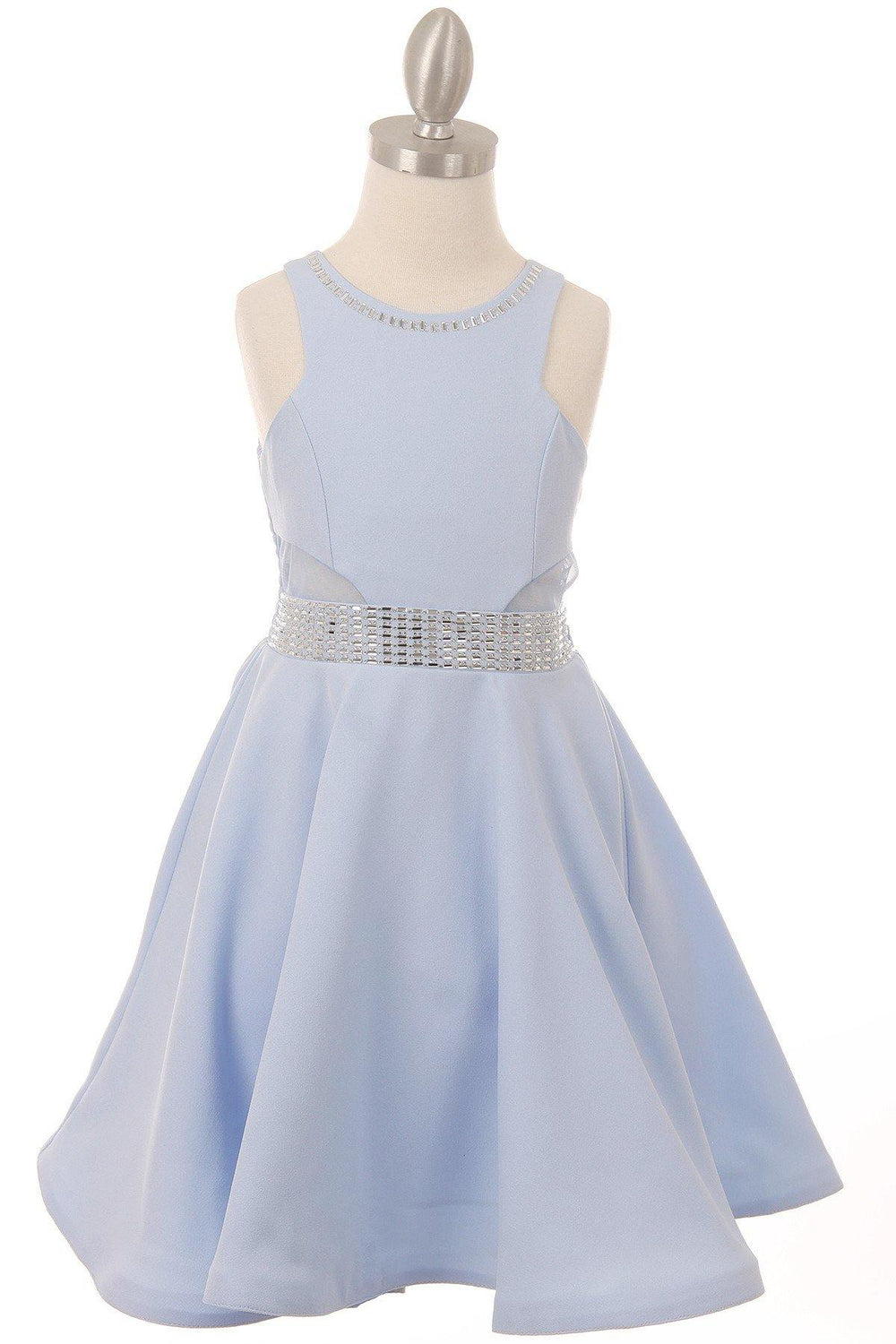 Short Sparkle Flower Girl Dress - The Dress Outlet Blue