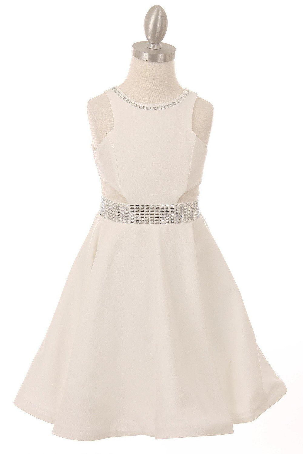 Short Sparkle Flower Girl Dress - The Dress Outlet Off White