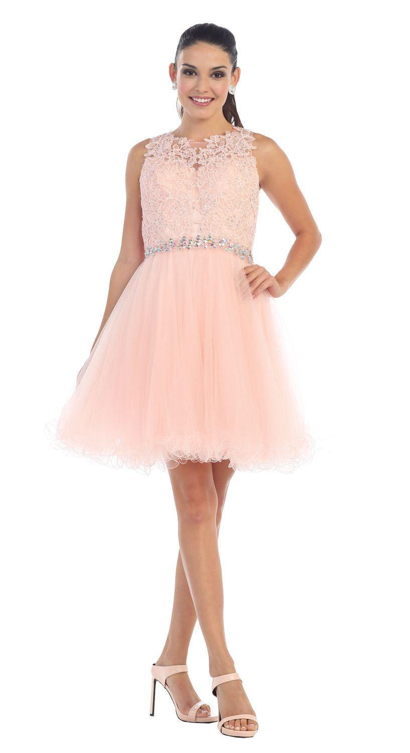 Short Prom Homecoming Graduation Dress - The Dress Outlet Blush