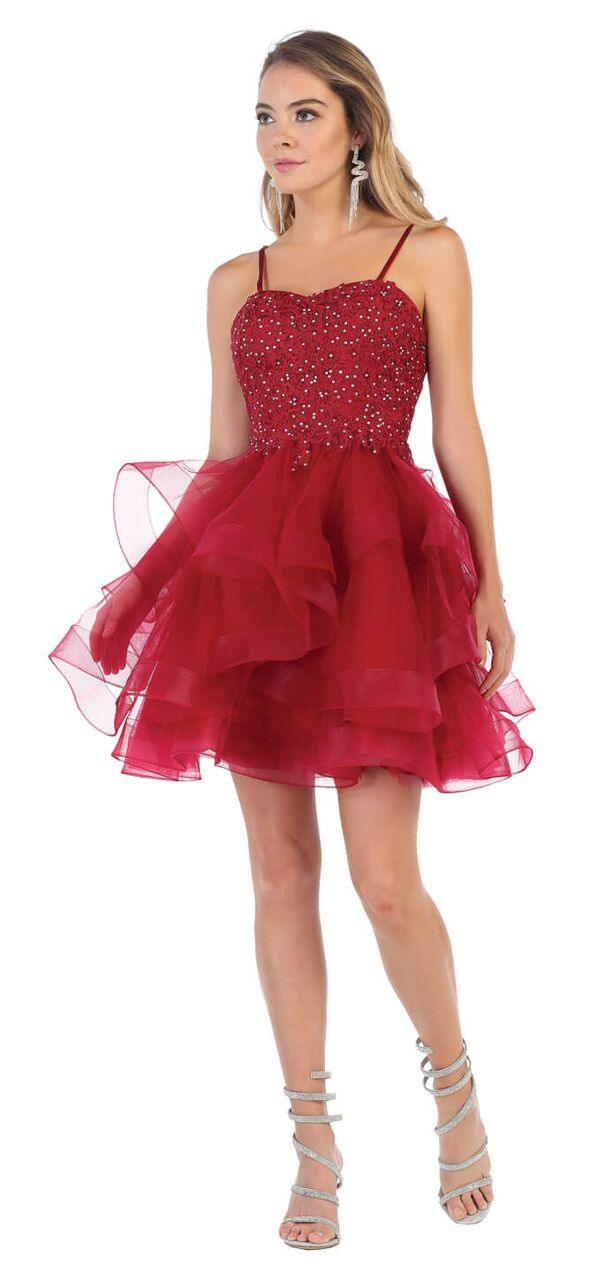 Short Prom Graduation Strap Dress with Ruffled Skirt - The Dress Outlet Burgundy