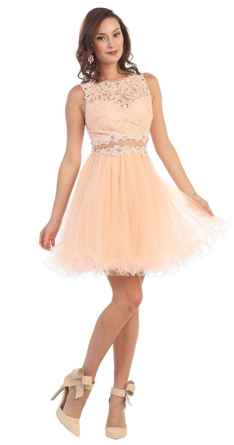 Short Prom Formal Homecoming Dress - The Dress Outlet Peach May Queen