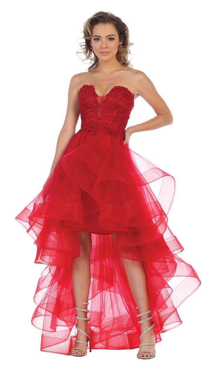 Strapless High Low Prom Dress Ruffled Skirt Gown - The Dress Outlet Red