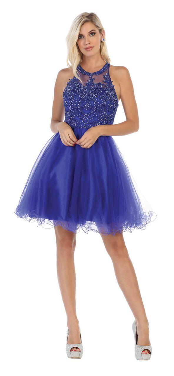 Short Prom Halter Neck Homecoming Dress - The Dress Outlet Royal May Queen