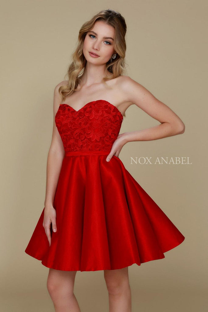 Short Strapless Formal Prom Homecoming Dress - The Dress Outlet Nox Anabel