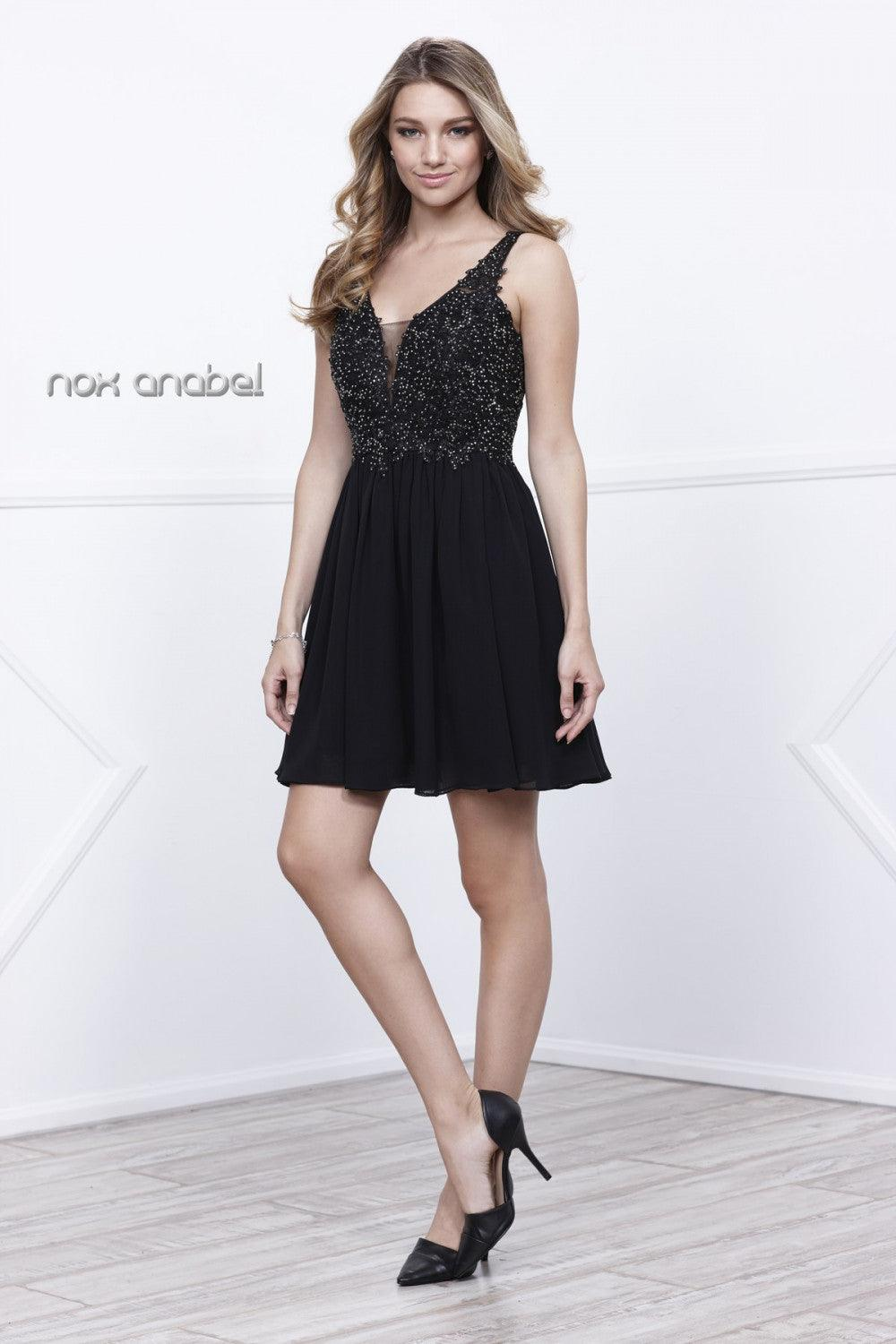 Short Prom Formal Homecoming Dress - The Dress Outlet Black