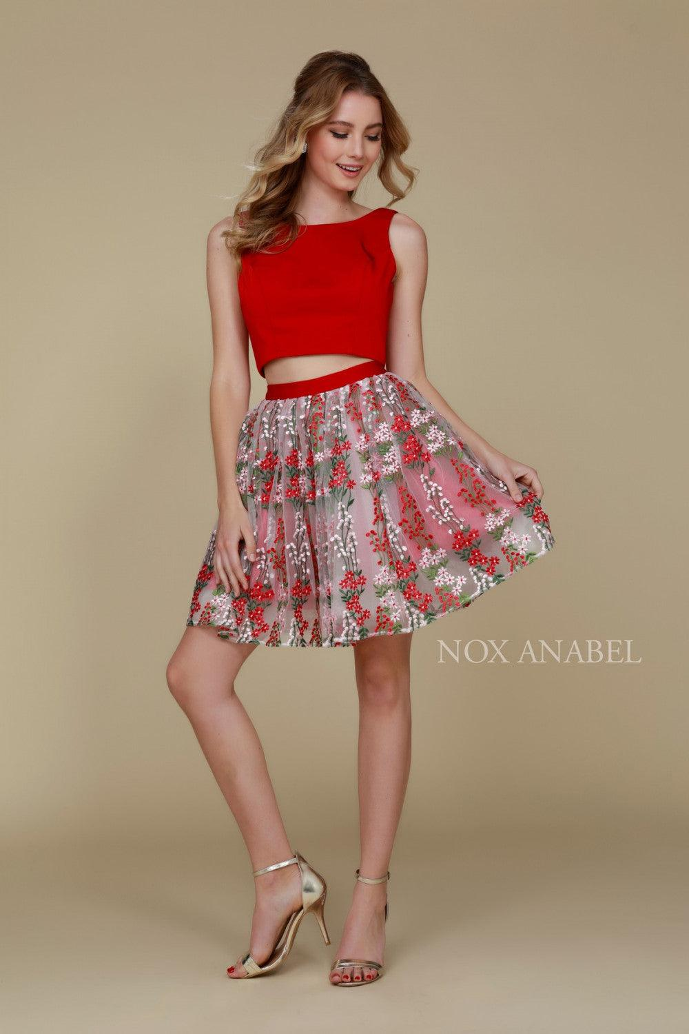 Short Two Piece Homecoming Beautiful Floral Dress Red - The Dress Outlet