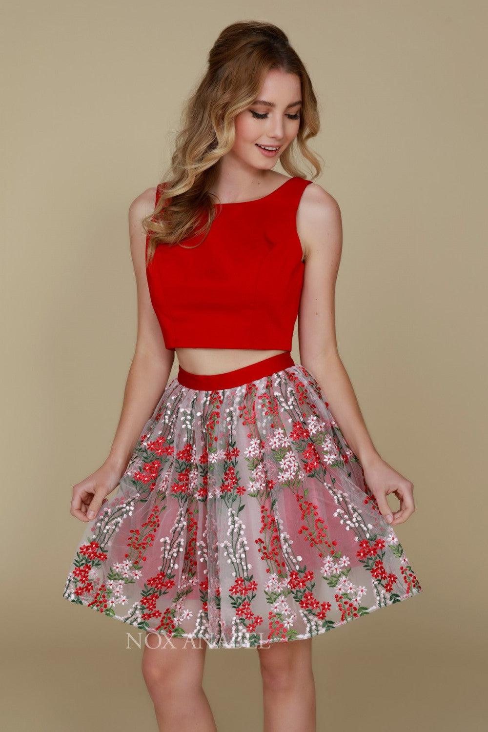 Short Two Piece Homecoming Beautiful Floral Dress - The Dress Outlet Red