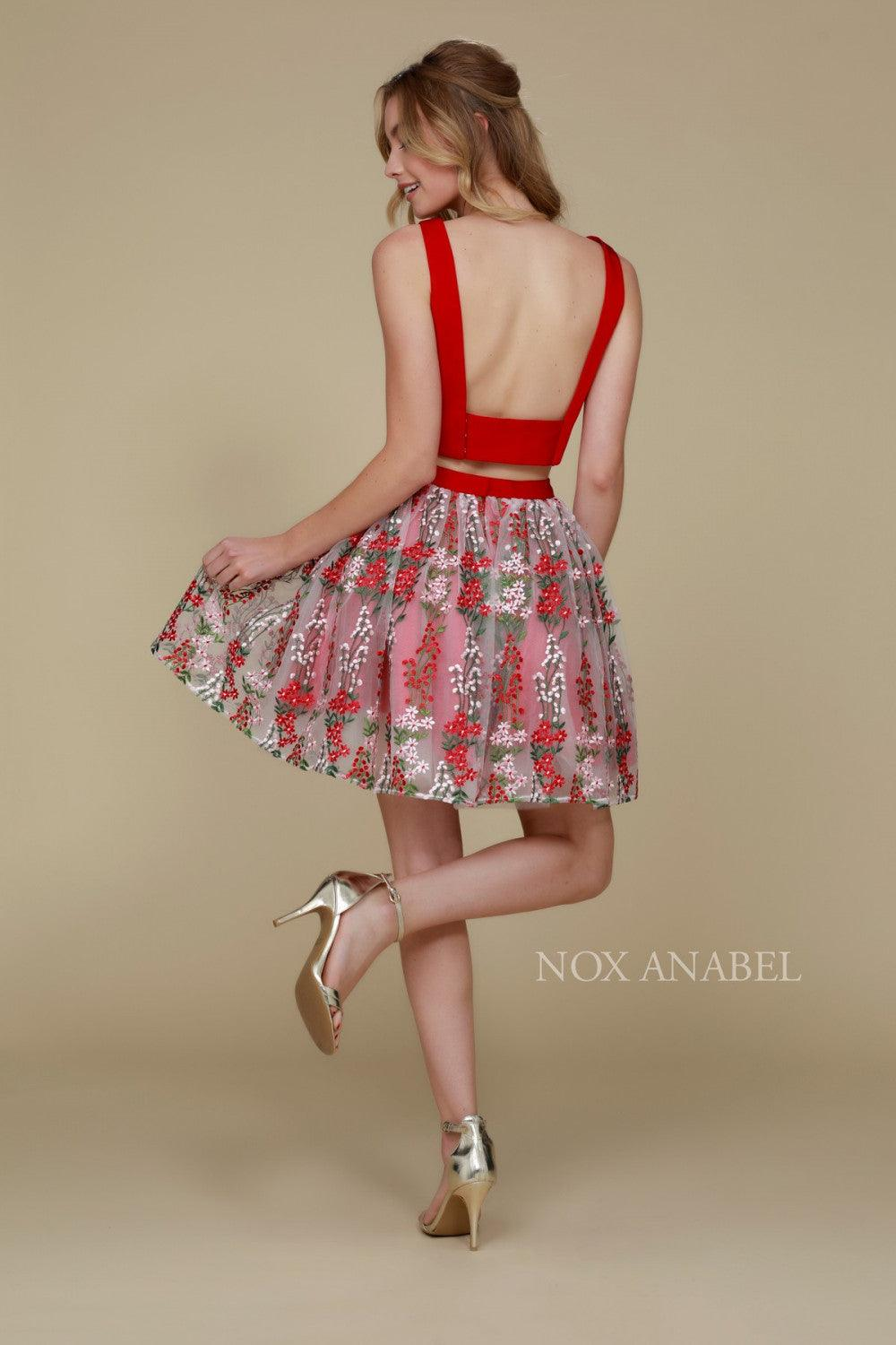 Short Two Piece Homecoming Beautiful Floral Dress - The Dress Outlet