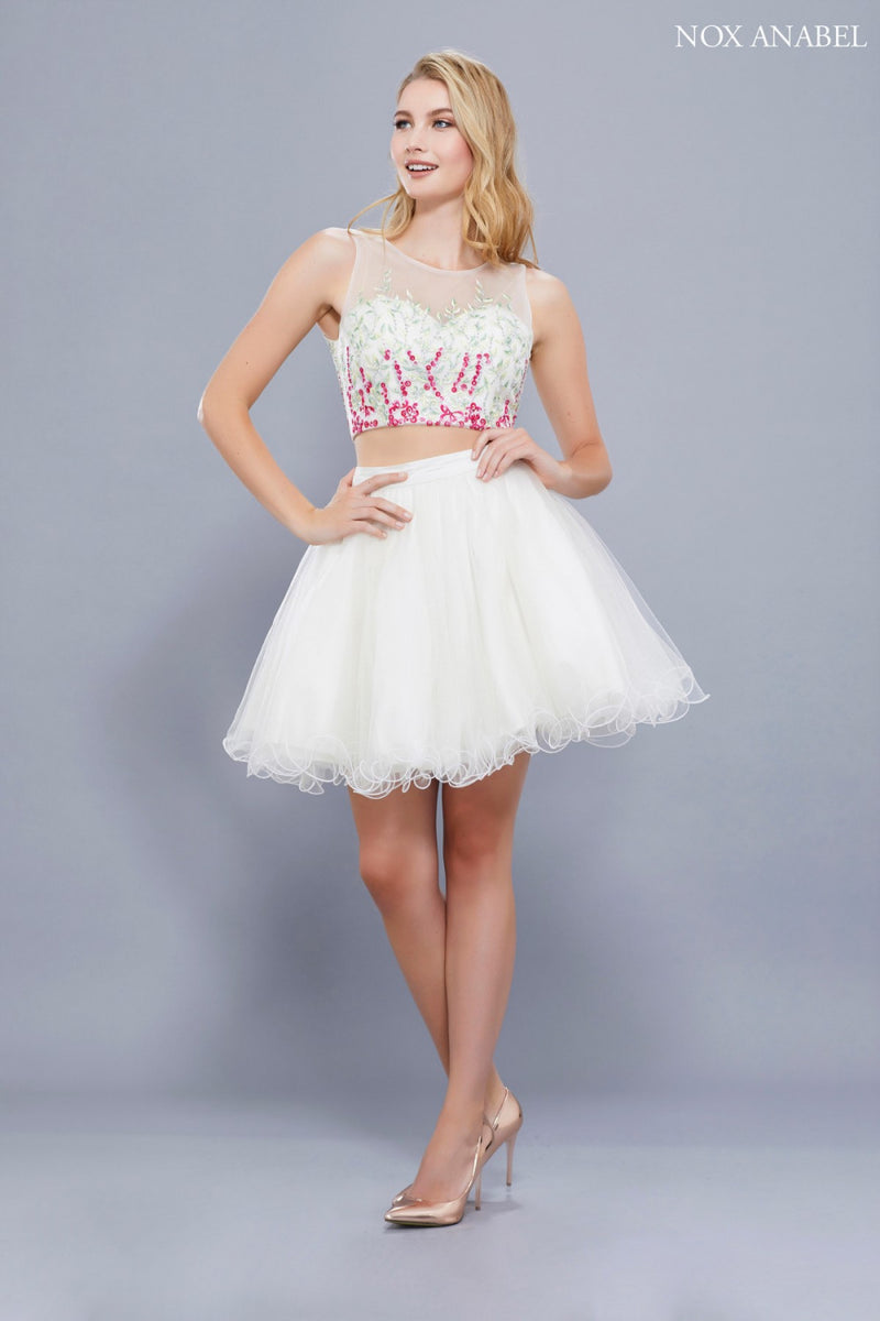Two Piece Short Prom Homecoming Dress