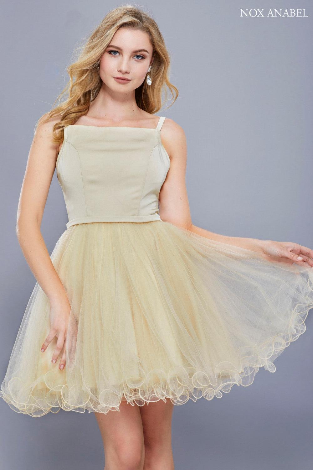 Short Sleeveless Tulle Formal Homecoming Prom Dress - The Dress Outlet Champagne