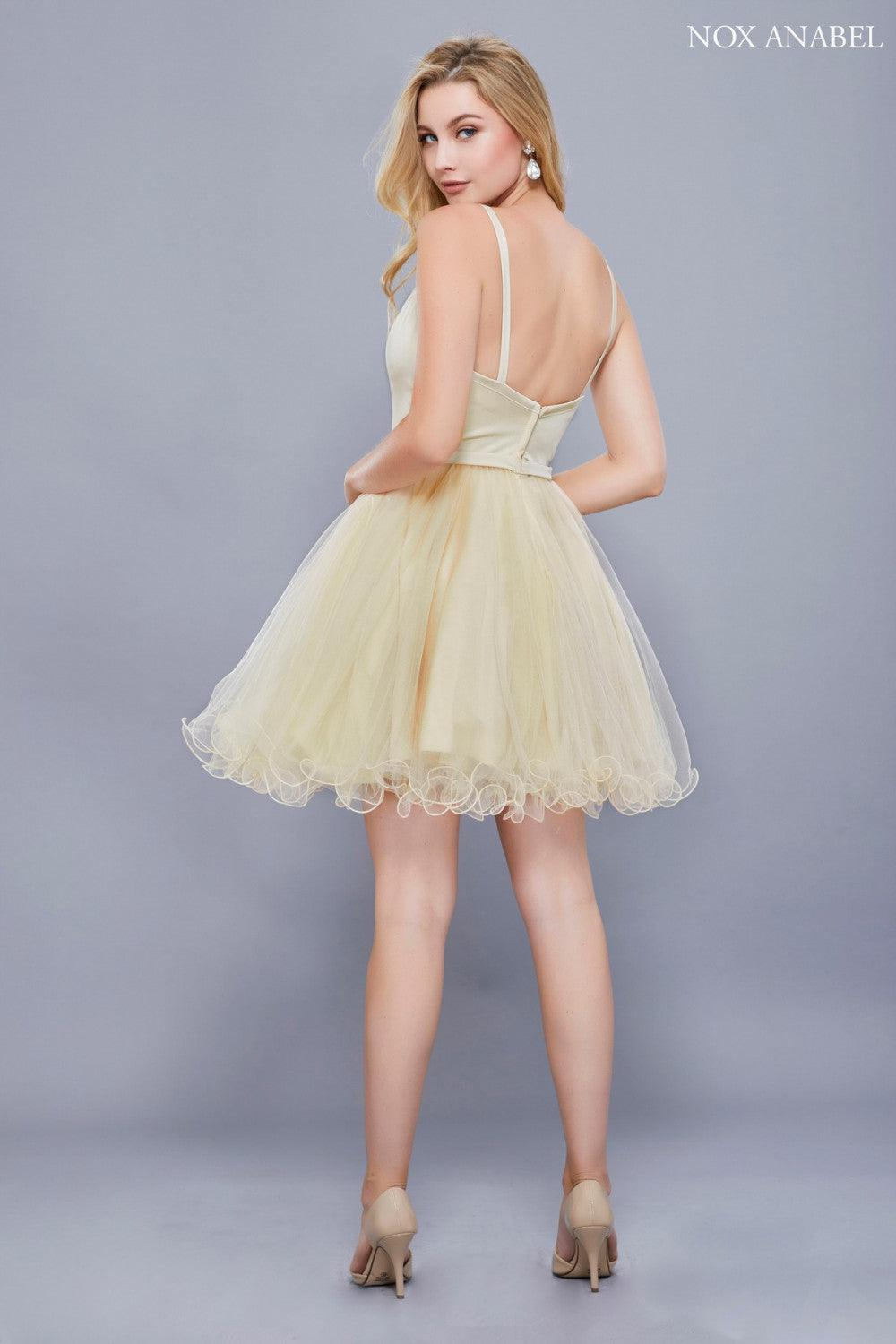 Short Sleeveless Tulle Formal Homecoming Prom Dress - The Dress Outlet