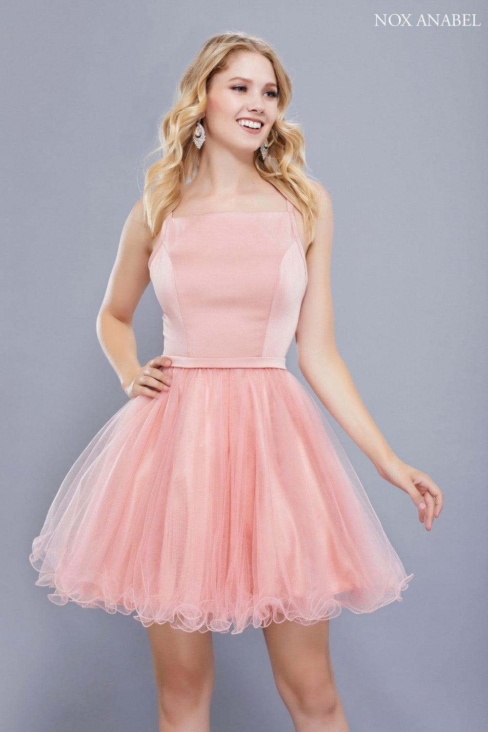 Short Sleeveless Tulle Formal Homecoming Prom Dress - The Dress Outlet Rose