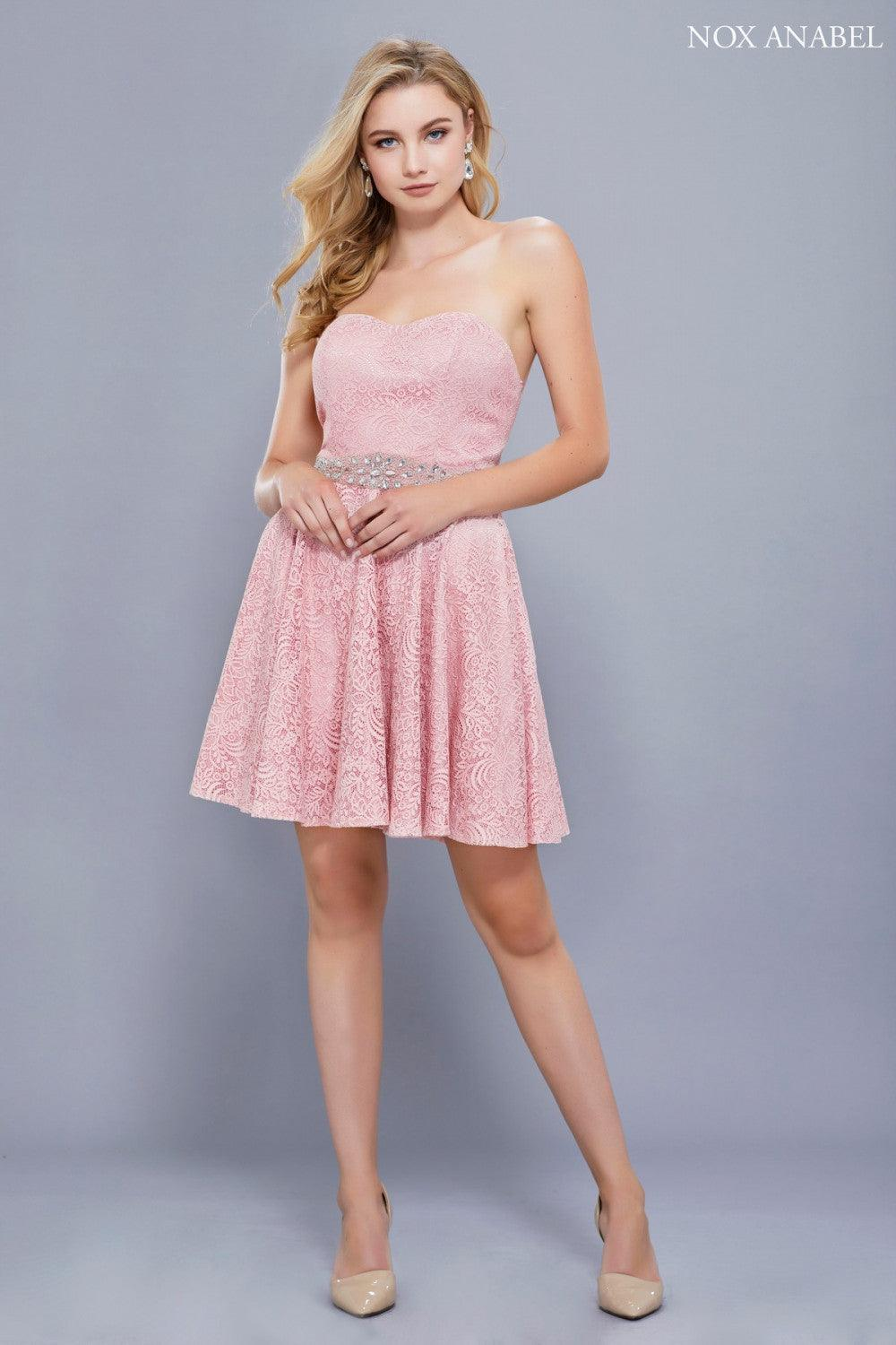 Short Strapless Formal Homecoming Dress - The Dress Outlet