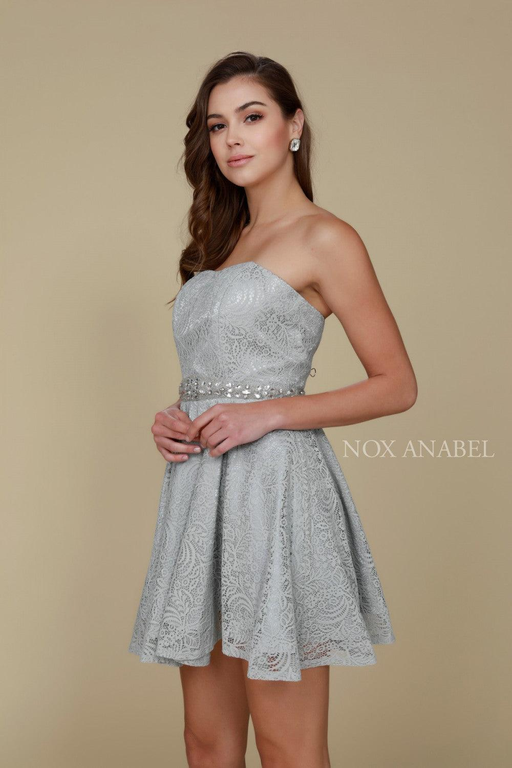 Short Strapless Formal Homecoming Dress - The Dress Outlet Gray