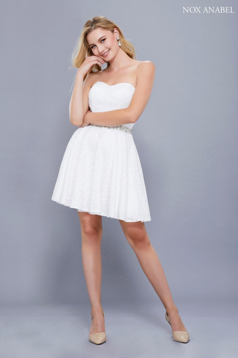 Short Strapless Formal Homecoming Dress - The Dress Outlet White
