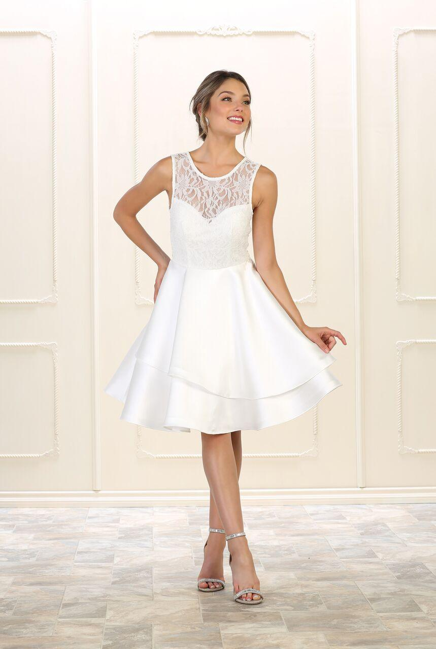 Short Prom Dress Homecoming Plus Size Cocktail - The Dress Outlet White