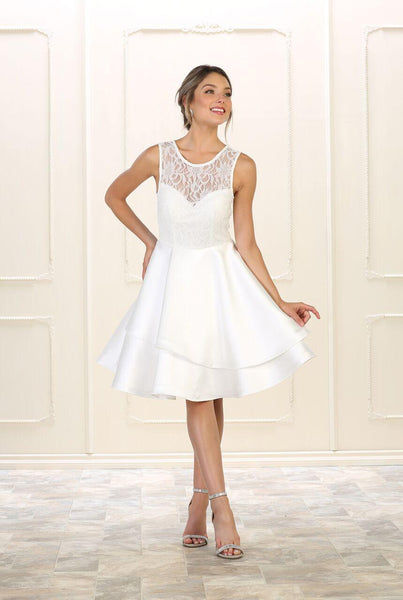 Short Prom Dress Homecoming Plus Size Cocktail - The Dress Outlet White May Queen