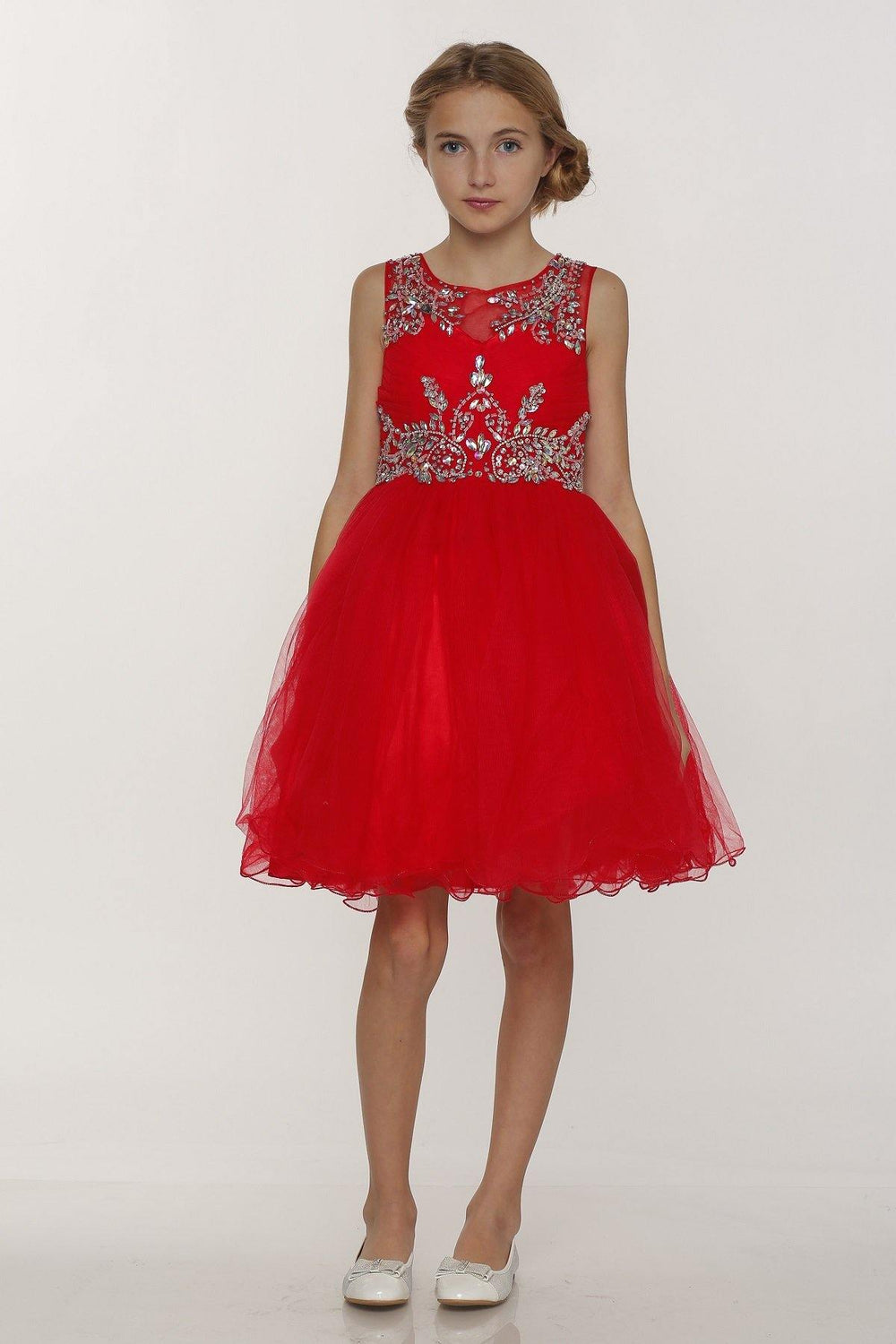 Sleeveless Flower Girl Dress with Rhinestone Bodice - The Dress Outlet Red
