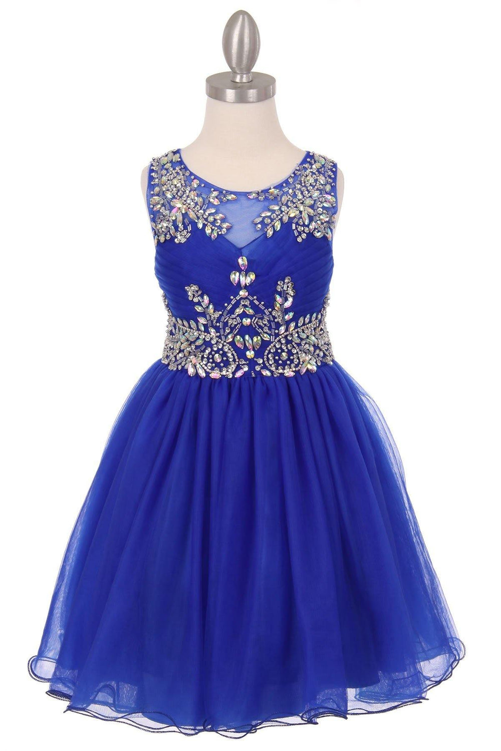 Sleeveless Flower Girl Dress with Rhinestone Bodice - The Dress Outlet Royal Blue
