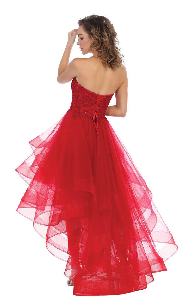 Strapless High Low Prom Dress Ruffled Skirt Gown - The Dress Outlet