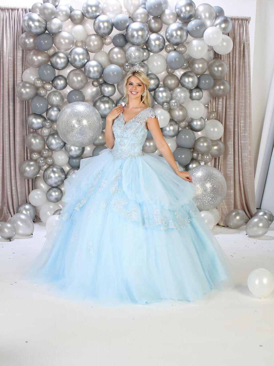 Sweet 16 Long Cap Sleeve Quinceanera Dress - The Dress Outlet Baby Blue